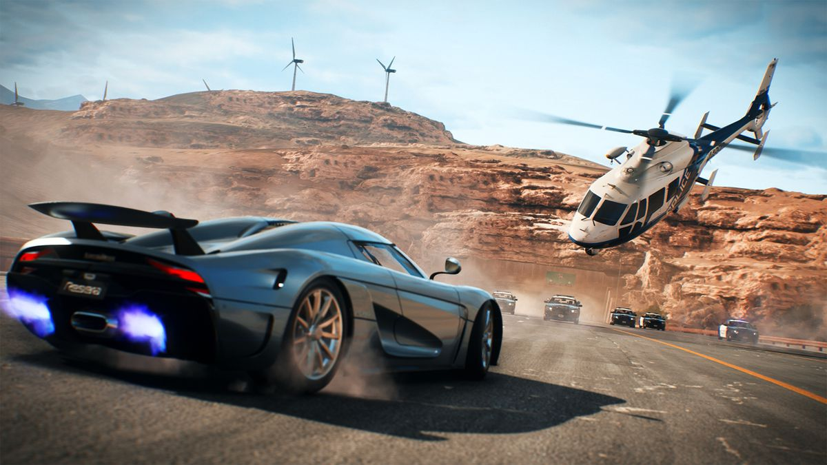 Cinema de Need For Speed con un auto y un helicóptero
