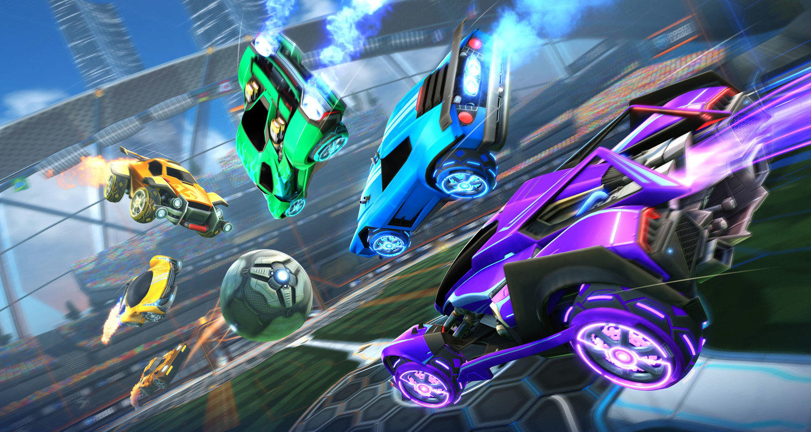 Carros de colores en una carrera de Rocket League